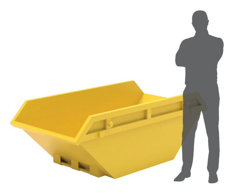 graphic of yellow skip bin and greyed out silhouette